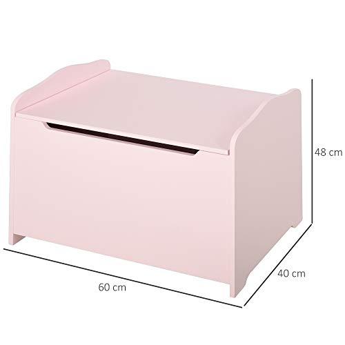 HOMCOM Spielzeugtruhe Kindersitzbank mit Stauraum 2-in-1 Truhenbank Spielzeugkiste Aufbewahrungstruhe 3+ Jahre Kindermöbel Rosa 60 x 30 x 50 cm - 7
