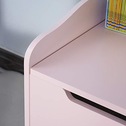 HOMCOM Spielzeugtruhe Kindersitzbank mit Stauraum 2-in-1 Truhenbank Spielzeugkiste Aufbewahrungstruhe 3+ Jahre Kindermöbel Rosa 60 x 30 x 50 cm - 8
