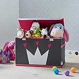 Store It 670407 Spielzeugtruhe, Polyester, Krone - grau/weiß/pink, 62 x 37,5 x 39 cm - 3