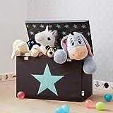 STORE IT - Spielzeugtruhe für Kinder - Truhe mit Deckel - Große Aufbewahrungsbox, Spielzeugkiste für das Kinderzimmer - 62x37,5x39cm - grau/ mintgrün - STERN - 3