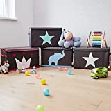 STORE IT - Spielzeugtruhe für Kinder - Truhe mit Deckel - Große Aufbewahrungsbox, Spielzeugkiste für das Kinderzimmer - 62x37,5x39cm - grau/ mintgrün - STERN - 6