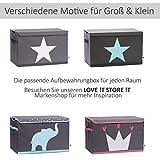 STORE IT - Spielzeugtruhe für Kinder - Truhe mit Deckel - Große Aufbewahrungsbox, Spielzeugkiste für das Kinderzimmer - 62x37,5x39cm - grau/ mintgrün - STERN - 7