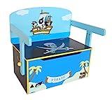 Bebe Style PRF1CTB-Blue Verwandelbare Spielzeugkiste + Tischbank + Stuhl - Holzkiste Aufbewahrung, blau