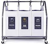 Rolling Wäschesortierer, Biemlerfn Wäschekorb mit 3 Fächer, Wäschewagen, Kleidung Spielzeug Organizer auf Rollen