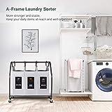 Rolling Wäschesortierer, Biemlerfn Wäschekorb mit 3 Fächer, Wäschewagen, Kleidung Spielzeug Organizer auf Rollen - 2