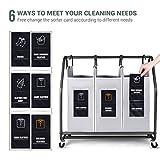 Rolling Wäschesortierer, Biemlerfn Wäschekorb mit 3 Fächer, Wäschewagen, Kleidung Spielzeug Organizer auf Rollen - 6