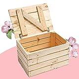 Kontorei Schlichte Holzkiste Natur mit praktischem Deckel, schön zur Aufbewahrung oder als Heimwerkertruhe, neu, 48x36x28cm