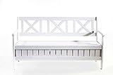 Ambientehome Bank, Massivholz Truhenbank EVJE 150 cm Gartenbank, weiß, 157x63x88 cm, 90463 -