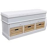 vidaXL Sitztruhe 2 Schubladen + 3 Kisten - 4