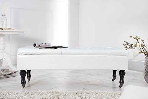 Edle Design Truhenbank BOUTIQUE weiß Sitzbank mit Stauraum 110 cm Bank Bänke -