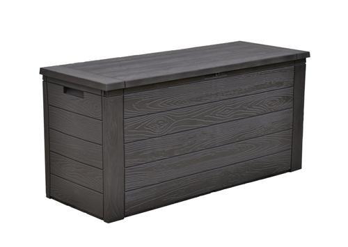 Auflagenbox in Holzoptik, schwarz, 300L, 120cm