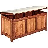 STILISTA® Gartenbox aus FSC zertifiziertem Shorea-Hartholz, Liftautomatik, inkl. Kissen, 113cm