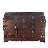 Holztruhe, Schatzkiste, Piratenkiste, mit Metallbeschlägen, Kolonialtruhe, mit Ornamenten und Lederriemen, 50x25x28cm