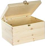 VENKON - Universal Holzkiste mit Deckel für Aufbewahrung - Kiefer naturbelassen unbehandelt, 40x30x23,5cm