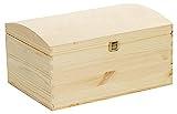 VENKON - Holztruhe mit gewölbtem Deckel aus Massivholz mit Metallverschluss - Kiefer naturbelassen unbehandelt, 35x25x19cm