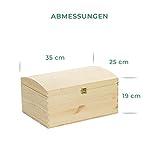 VENKON – Holztruhe mit gewölbtem Deckel aus Massivholz mit Metallverschluss – Kiefer naturbelassen unbehandelt, 35x25x19cm - 3