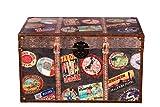 Holztruhe Reisekofferoptik, Weltreise, Kreuzfahrt, mit Leder bezogen im Vintage Look, Antikoptik, Maritim, 35x21x19cm