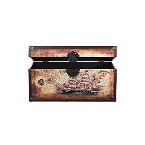 Truhe Kiste SJ 12191 Maritim, Schiff, Segelschiff, Holztruhe mit Leder bezogen, Vintage, 49x28x25cm