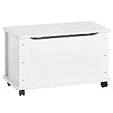 Spielzeugtruhe ELISA Kiefer massiv, weiß lackiert, integrierter Klemmschutz, 4 Sicherheitsdoppelrollen, 73x40x45cm