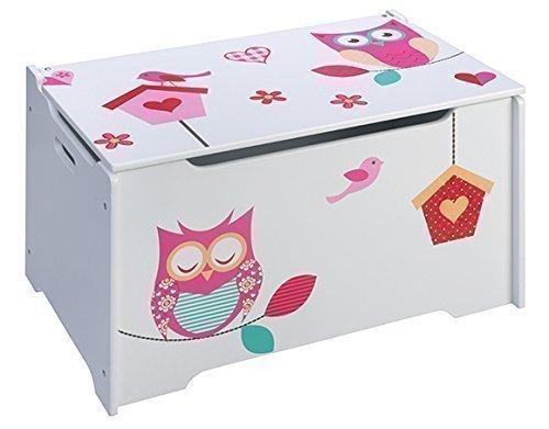 4Uniq Kinderspielzeugtruhe Eule Holzkiste Truhe Spielzeugkiste, 65x40x38cm