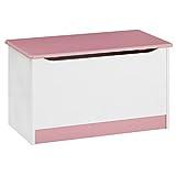 Spielzeugtruhe HANNAH Kiefer massiv in weiß und rosa mit Klemmschutz, 73x40x45cm