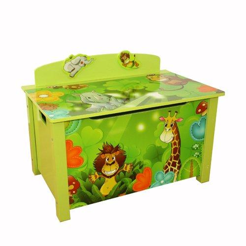 Homestyle4u Spielzeugtruhe Dschungel grün