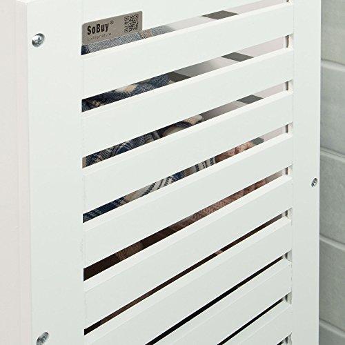 SoBuy® Wäschetruhe,Wäschekorb, Wäschebox, Wäschesammler Wäschetonne,mit Deckel, Weiß+Natur, FSS48-WN -