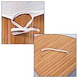 Relaxdays Eckwäschekorb Bambus HxBxT: ca. 65 x 49,5 x 37 cm faltbare Wäschetruhe eckig mit einem Volumen von 64 L mit Wäschesack aus Baumwolle zum Herausnehmen für Ecken und Nischen im Bad, natur -