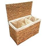 KMH® Charly, 3fach Wäschesortierer aus geflochtener Wasserhyazinthe, 82x42,5x52,5cm
