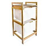 Relaxdays Wäschesammler mit 2 Fächern LINEA, Bambus, 37x33x73 cm
