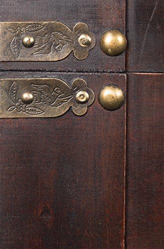 Holztruhe, Schatztruhe mit Metallbeschlägen, Kolonialtruhe mit ornamenten und Lederriemen, 70x48x48cm - 3
