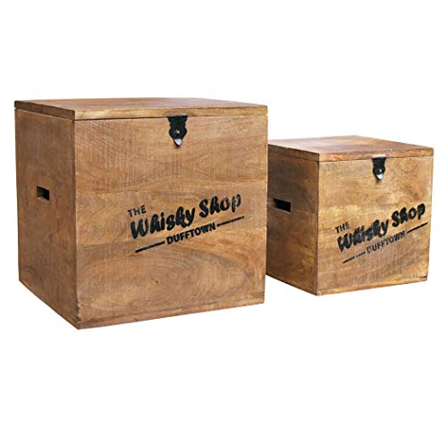 """KMH® 2tlg. Truhenset """"Whisky Shop"""" aus Mangoholz, 40x40x40,5cm und 30x30x30,5cm"""