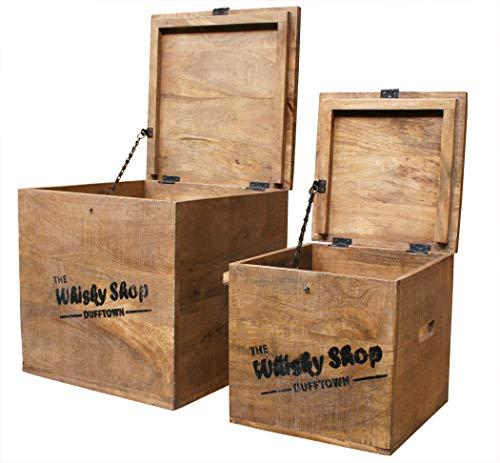 """KMH® 2tlg. Truhenset """"Whisky Shop"""" aus Mangoholz, 40x40x40,5cm und 30x30x30,5cm - 4"""