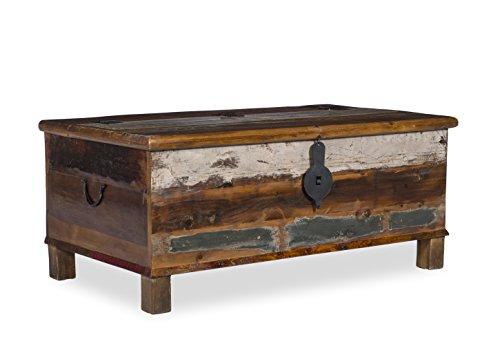 Woodkings® Couchtisch Truhe Wakefield, recyceltes Massivholz, Handarbeit, 107x60x46cm