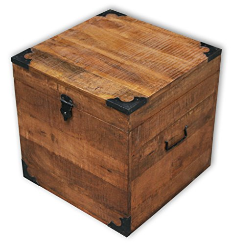 Truhe, Beistelltisch aus recyceltem Sheeshamholz, 40,5x40,5x40,5cm