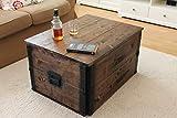 Uncle Joe´s 75756 Truhe Couchtisch Holzkiste, vintage, shabby chic Holz 80 x 55 x 44 cm, Dunkelbraun -