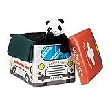 """Relaxdays faltbare Spielzeugtruhe mit Sitzpolster """"Krankenwagen"""", 48x32x32cm"""