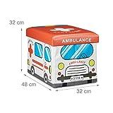 Relaxdays Faltbare Spielzeugkiste Krankenwagen HBT 32 x 48 x 32 cm stabiler Kinder Sitzhocker als Spielzeugbox Kunstleder mit Stauraum ca. 37 l und Deckel zum Abnehmen für Kinderzimmer, Ambulance -
