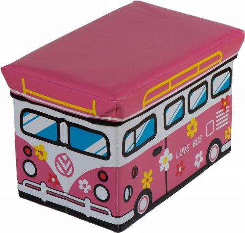 """Bieco Spielzeugtruhe und Sitzbank """"Love Bus"""", faltbar, 49x31x31cm"""