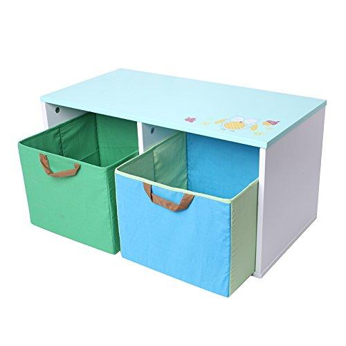 Labebe Spielzeugtruhe mit 2 Textilschubladen, 59x30x30cm
