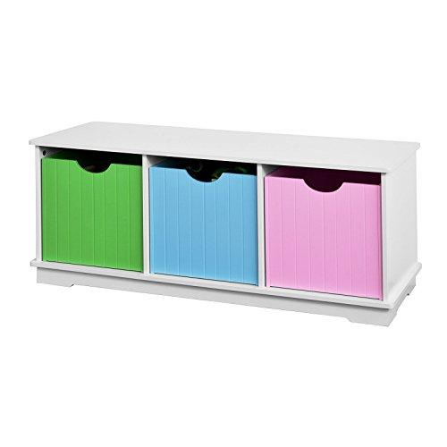 SoBuy® Spielzeugtruhe, Sitzbank mit 3 Einschüben, 99x36x42cm