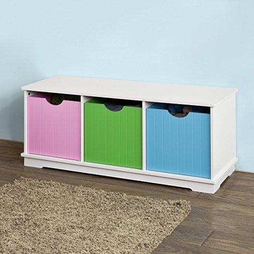 SoBuy® Spielzeugkiste,Spielzeugtruhe, Spielzeugbox, Sitzbank, Kind, bunt, FSR30-F -