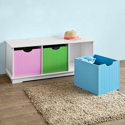 SoBuy® Spielzeugtruhe, Sitzbank mit 3 Einschüben, 99x36x42cm - 6