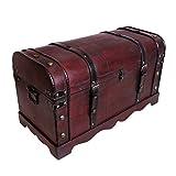 Schatztruhe Holztruhe Schatzkiste Kiste Piratenkiste mit Metallbeschlägen Antikoptik Holz Box Truhe Bar Schmuckkasten Weintruhe Aufbewahrungsbox Holz Optik Schmuckkiste Schmuckbox Grösse L SK002 -