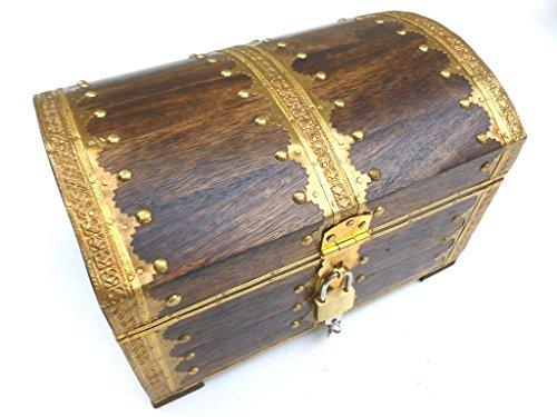 Schatztruhe Holz mit Vorhängeschloss, ideales Geschenk, 24x17x17cm