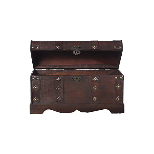 Holztruhe, Piratentruhe mit Metallbeschlägen und Ornamenten, 50x25x28cm