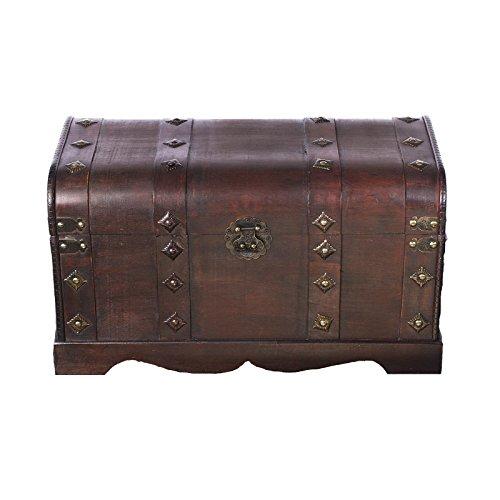 Holztruhe, Piratentruhe mit Metallbeschlägen und Ornamenten, 50x25x28cm - 2