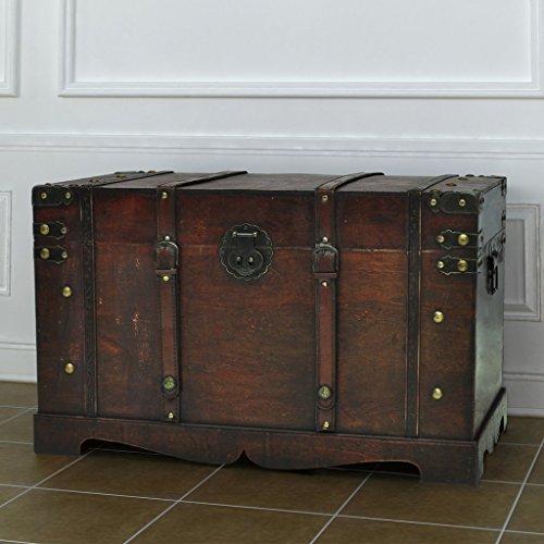 Anself Holztruhe Schatztruhe Vintage Truhe Größe 66 x 38 x 40cm -